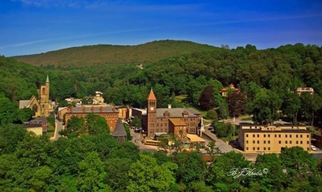 Beautiful view of Jim Thorpe, PA, a historic and charming town right along the D&L Trail