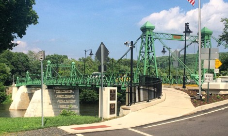 One of the few remaining multi-span, highway suspension bridges with continuous cables in Riegelsville, PA.