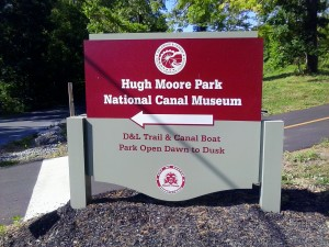 Hugh Moore park Canal Museum sign by switchback