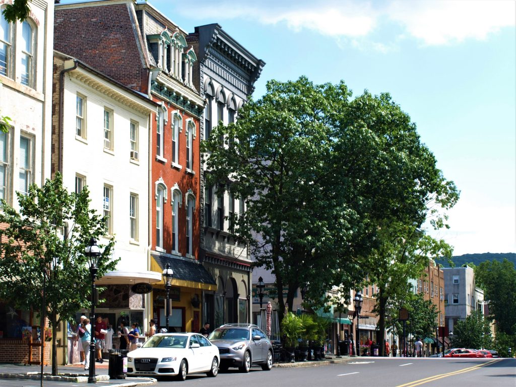 Shot of downtown Bethlehem, PA, a D&L Trail Town.