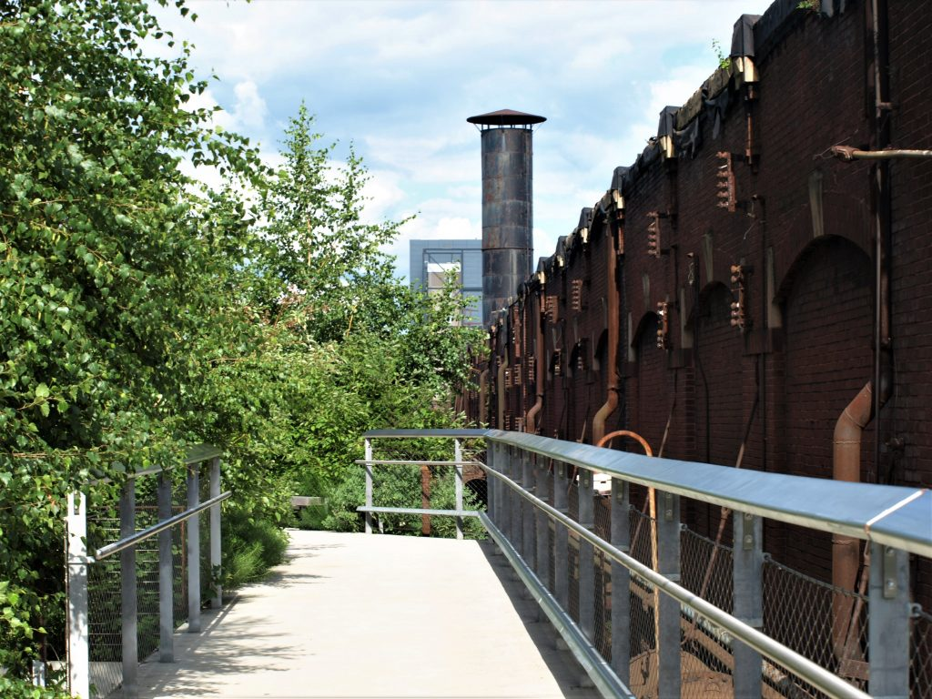 View on the Hoover Mason Trestle, a walkway along the SteelStacks in Bethlehem, PA, a D&L Trail Town.