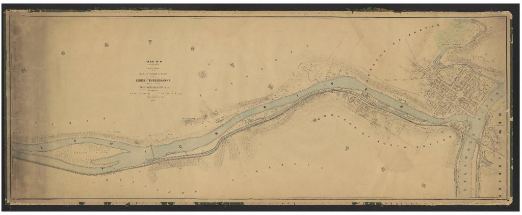 A 1864 map of Easton, Pennsylvania.