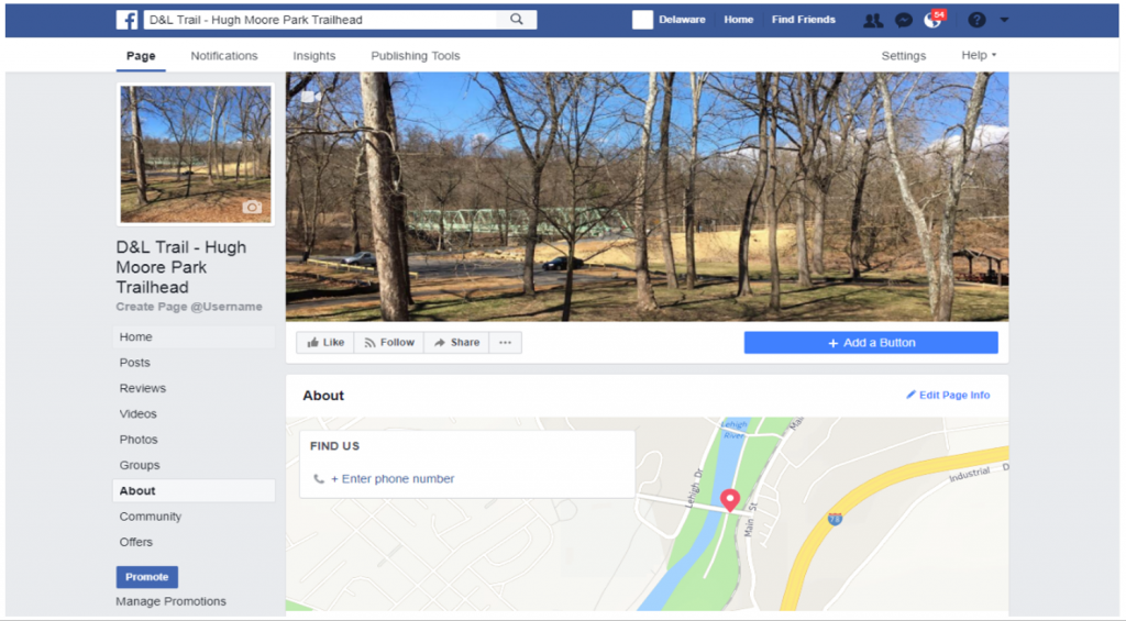 A screenshot of the new Hugh Moore Park Trailhead Facebook page.