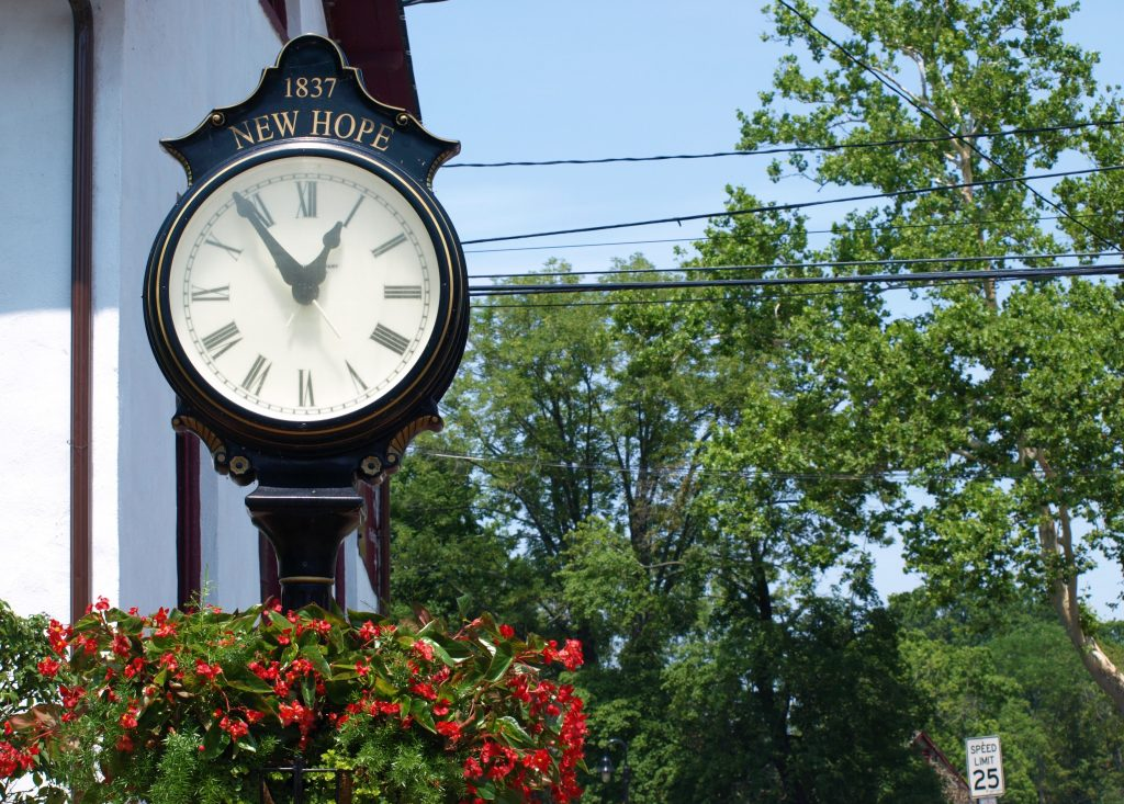Clock along Main Street in New Hope, PA, a D&L Trail Town.