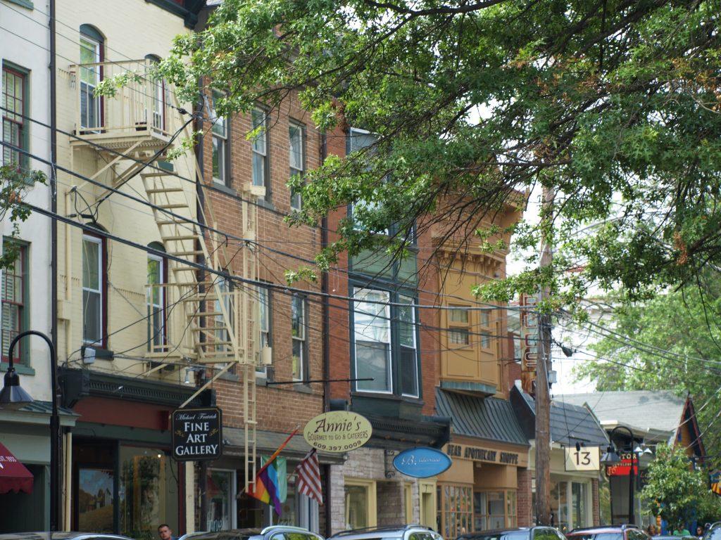 Shops in Lambertville, NJ, across Bridge St. from New Hope, PA, a D&L Trail Town