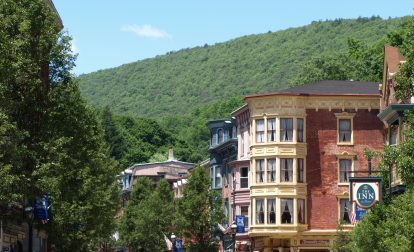 Street view of historic downtown Jim Thorpe, a Trail Town along the D&L Corridor