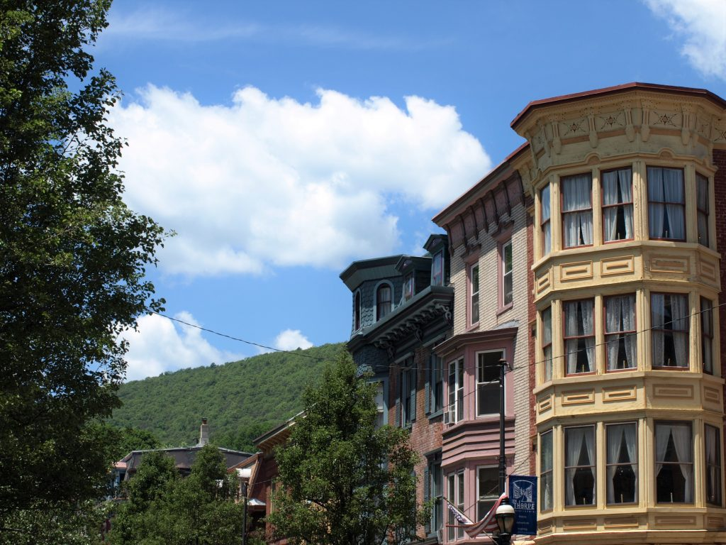 A scenic shot of the historic buildings in Jim Thorpe PA, a Trail Town along the D&L