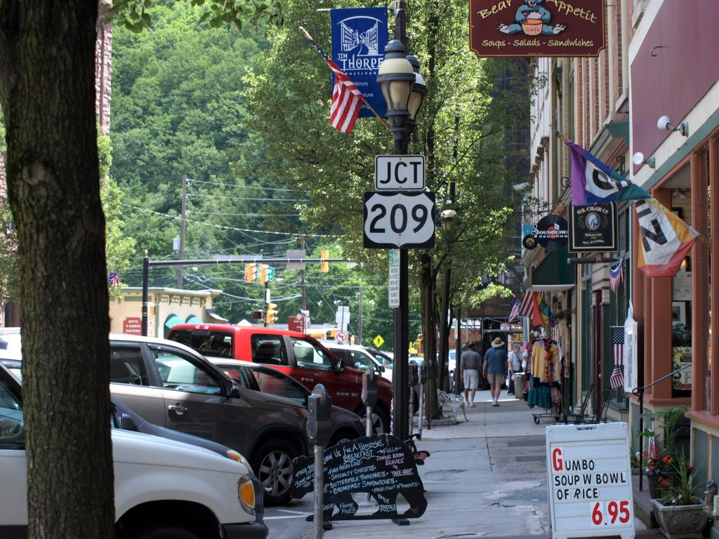 A street view of the shops and restaurants in Jim Thorpe, PA, a Trail Town along the D&L.