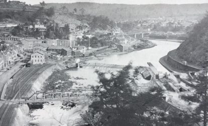 Historic photo of the mansion house bridge in Jim Thorpe, Pennsylvania.