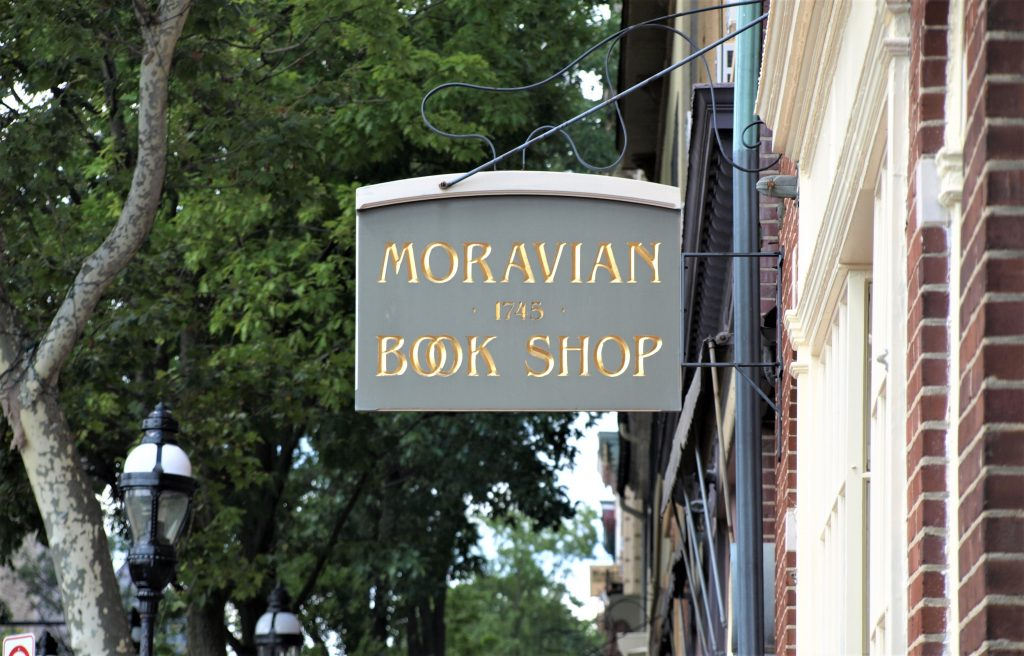 The Moravian Book Shop, downtown in Bethlehem, PA, a town along the D&L National Heritage Corridor