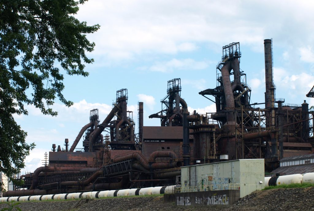 A view of the SteelStacks from the D&L Trail in Bethlehem, PA.