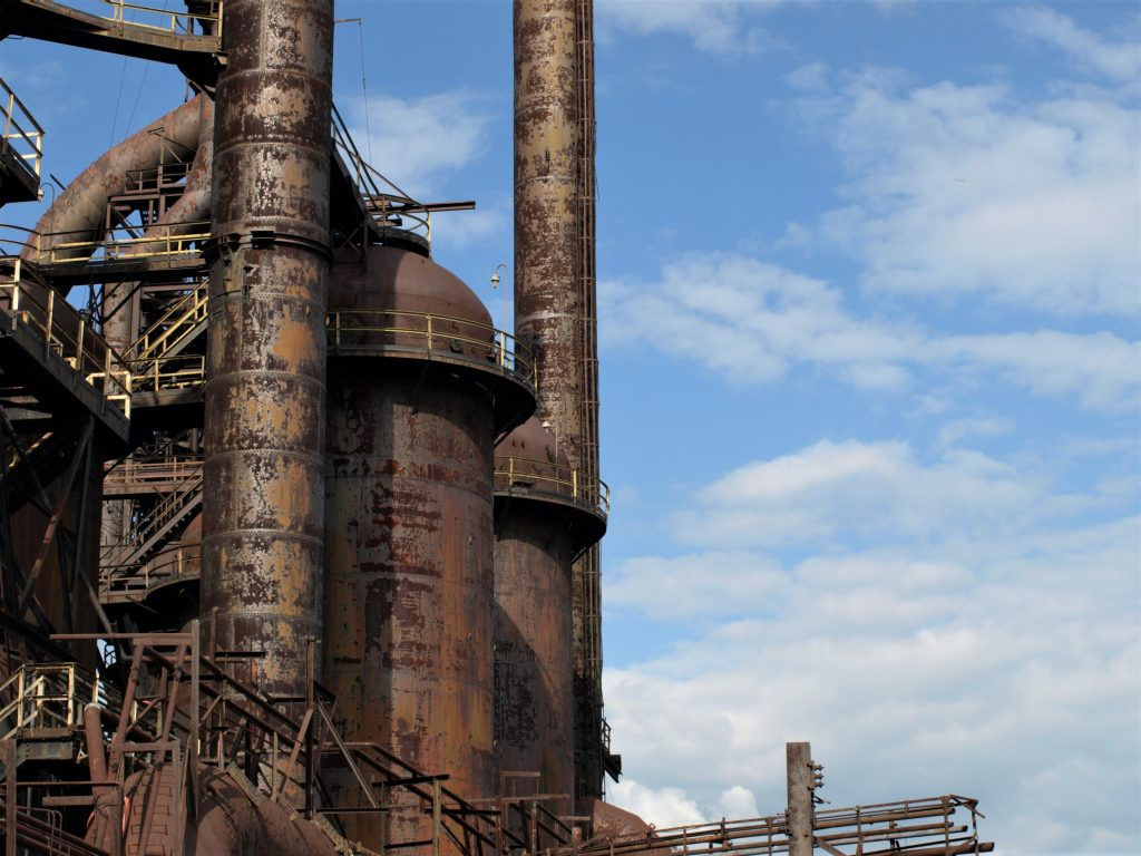 View of the SteelStacks in Bethlehem, PA, a D&L Trail Town.