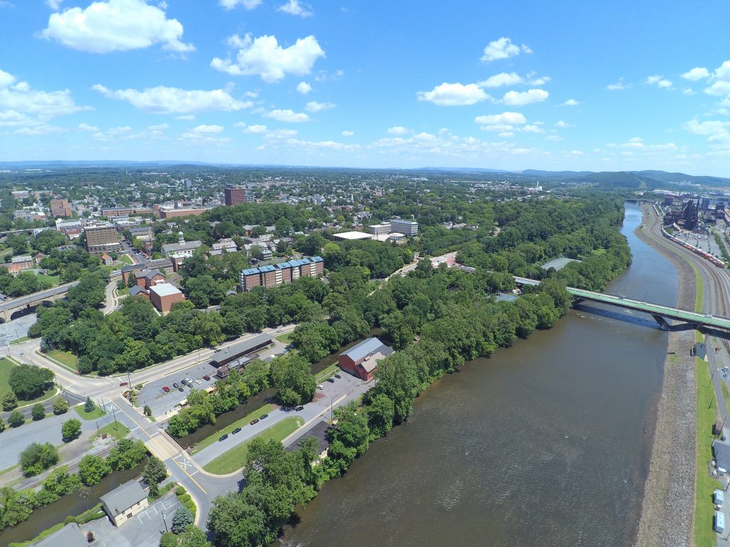 Drone photo over Bethlehem, PA, a D&L Trail Town.