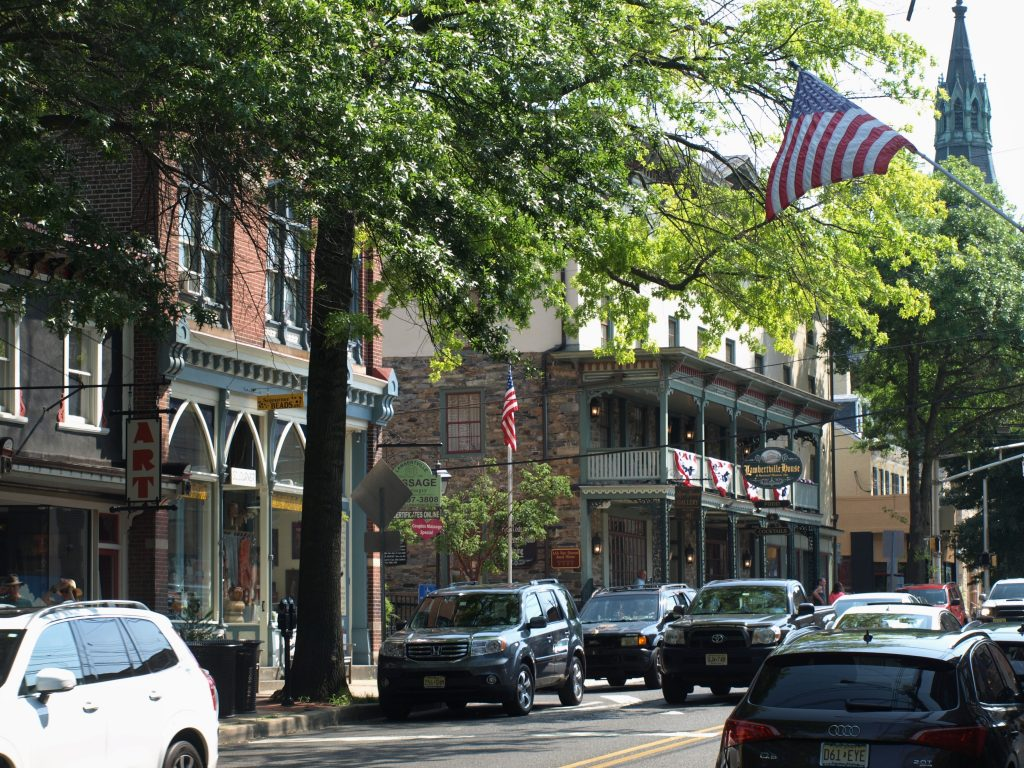Downtown Lambertville, NJ, a town near New Hope, PA along the D&L Trail