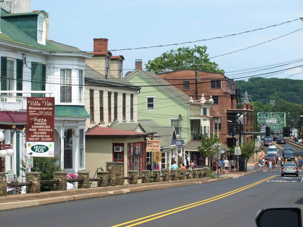 Shot of downtown New Hope, PA, a D&L Trail Town.