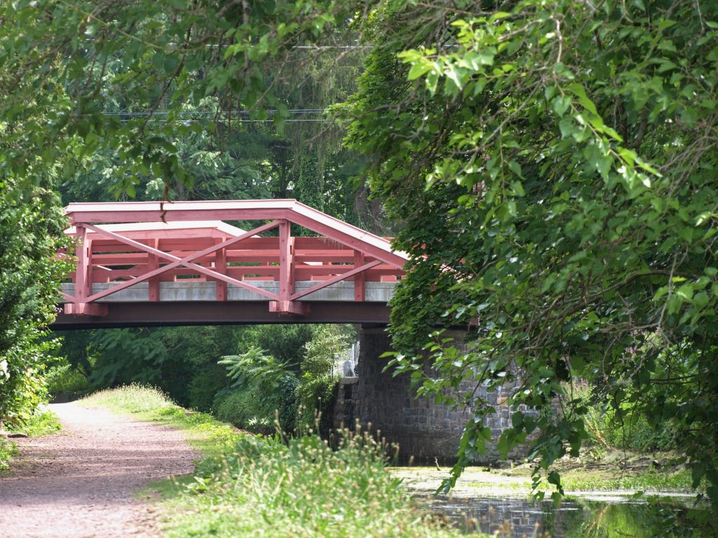 A bridge across the Delaware Canal, which runs along the D&L Trail in New Hope, PA