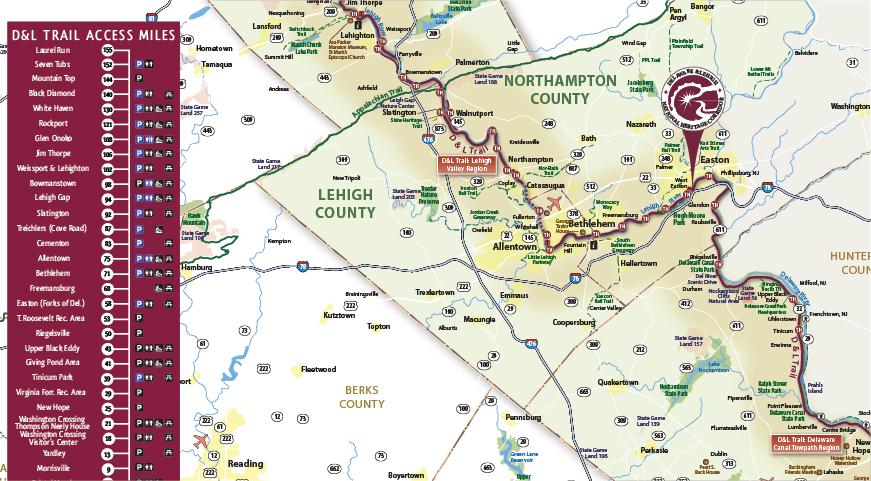Lehigh Valley Zip Code Map.D L Trail Maps D L Delaware Lehigh