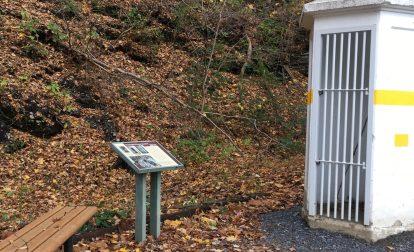 Concrete telephone booth along the D&L Trail in Northampton County in Laurys Station