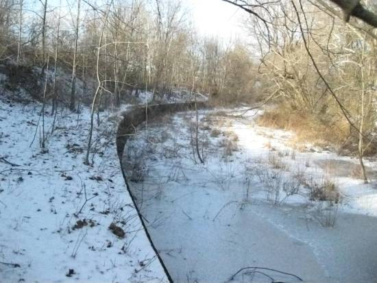 In North Catasauqua, an intact canal wall is easily visible during the winter.