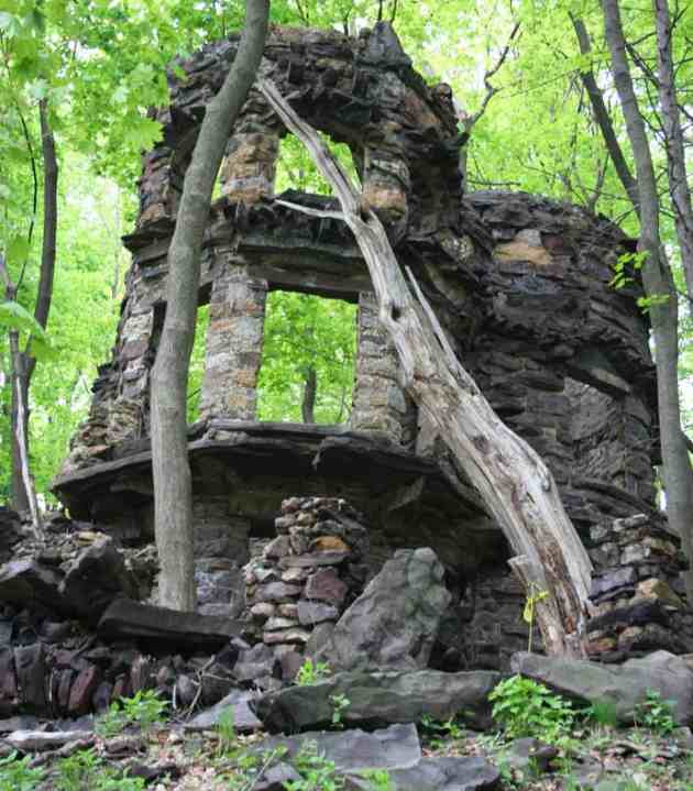 The remains of a large home are hidden within the Lehigh Gorge's forest.