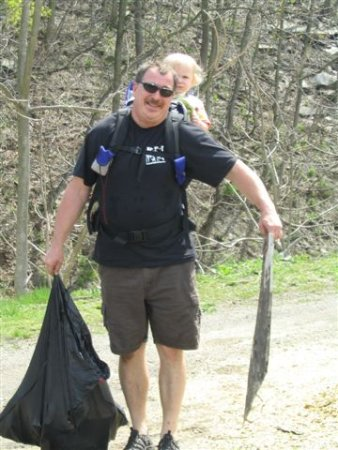 Parryville Mayor, Dean Emery, participates in the clean up