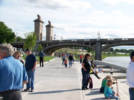 Visitors enjoy the new walkways and steps along the water.  The paths connect to the 12-mile Susquehanna River Levee System Trail.