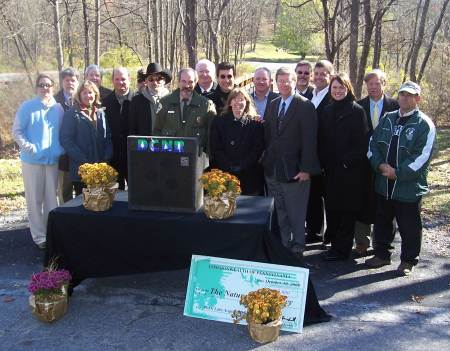 Palmer Township and the Nature Conservancy receive DCNR grants at a press conference in Jacobsburg