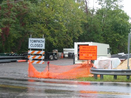 Crews are hard at work on reconstruction of the Delaware Canal