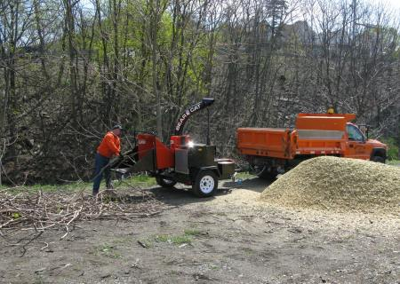 The Borough of Jim Thorpe donated a chipper to grind debris.