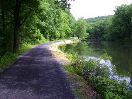 The Weissport section of trail offers views of the canal and, further north, the Lehigh River.